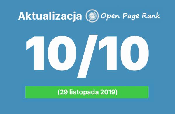 Nowe wartości Open PageRank stron internetowych (listopad 2019)