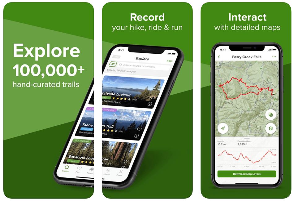 "Aplikacja mobilna ""AllTrails: Hike, Bike & Run"""