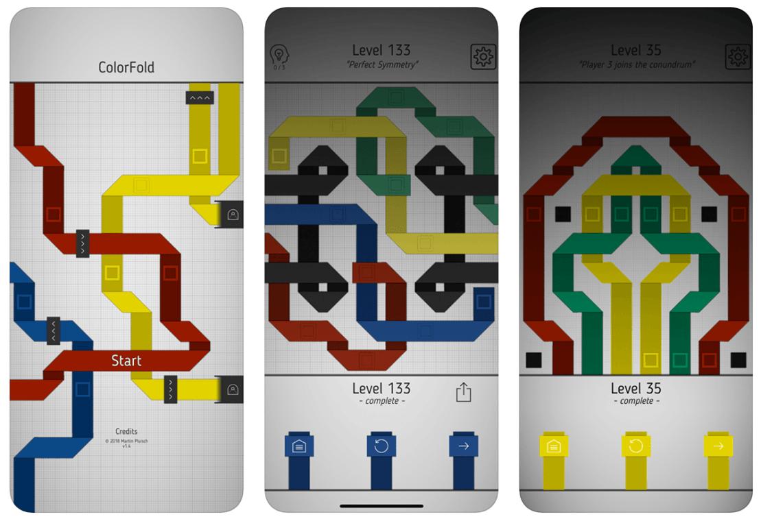 """Zrzuty ekranu z gry mobilnej """"ColorFold"""""""