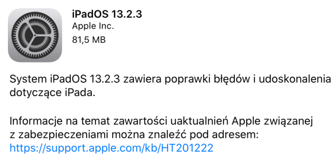 iPadOS 13.2.3 update