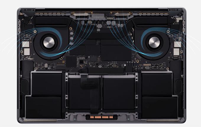 Chłodzenie w Macbooku Pro 16 cali (2019)