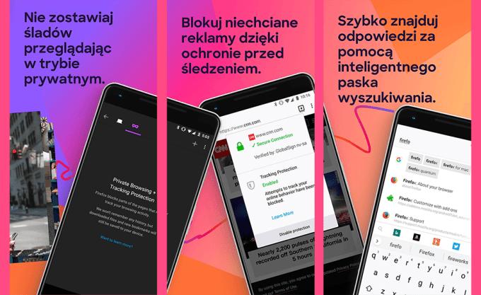 Zrzuty ekranu z mobilnej wersji przeglądarki Firefox