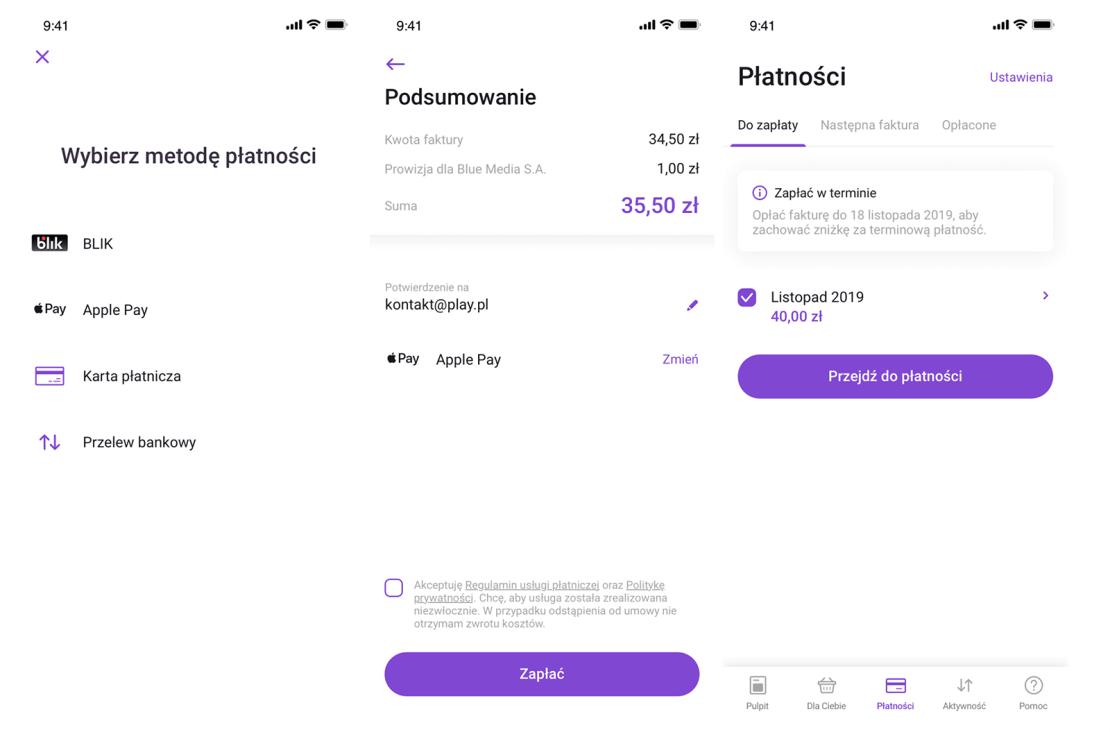 Płatności za faktury w aplikacji mobilnej Play24 za pomocą Apple Pay, Google Pay i BLIKA