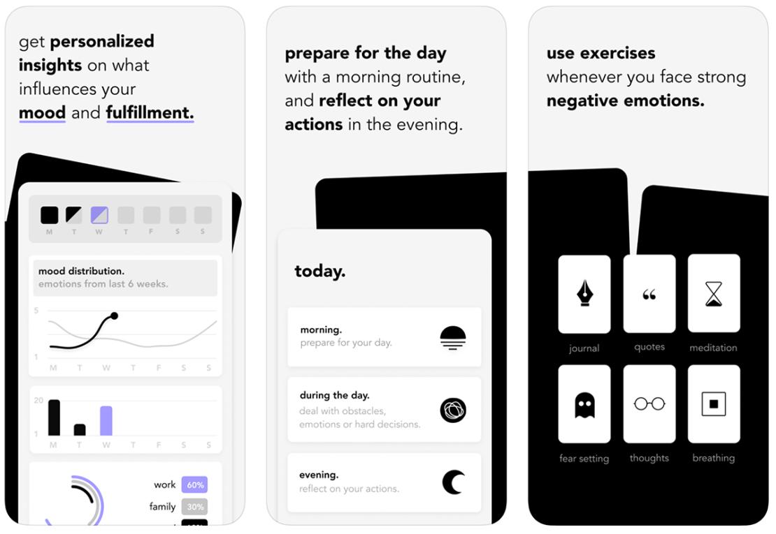 """Zrzuty ekranów z aplikacji """"stoic. mental health tracker"""""""