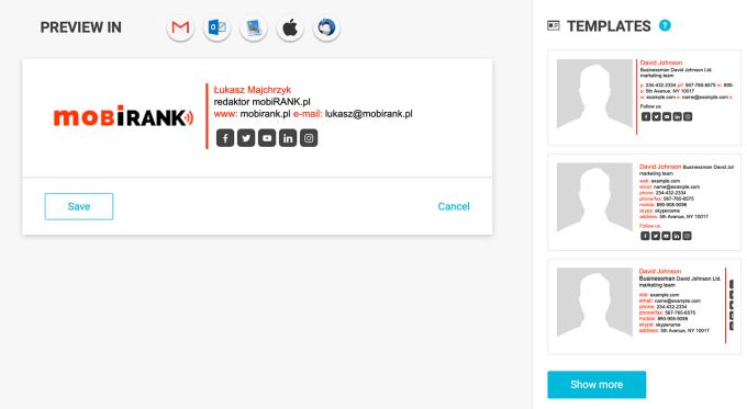 Przykład podpisu dla naszego serwisu stworzony w generatorze