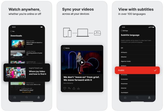 Zrzuty ekranów z aplikacji mobilnej TED