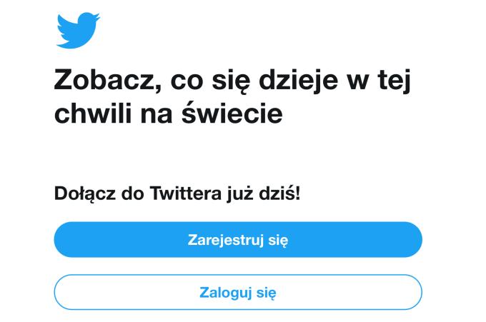ekran logowania/rejestracji do Twittera