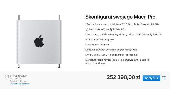 Cena najdroższej konfiguracji komputera Mac Pro (Apple, 2019)