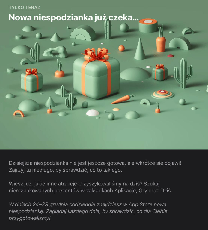 Zapowiedź prezentów świątecznych w sklepie App Store (2019)