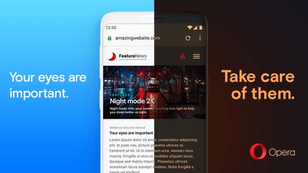 Opera 55 ma nowy tryb nocny, który może przyciemnić każdą stronę