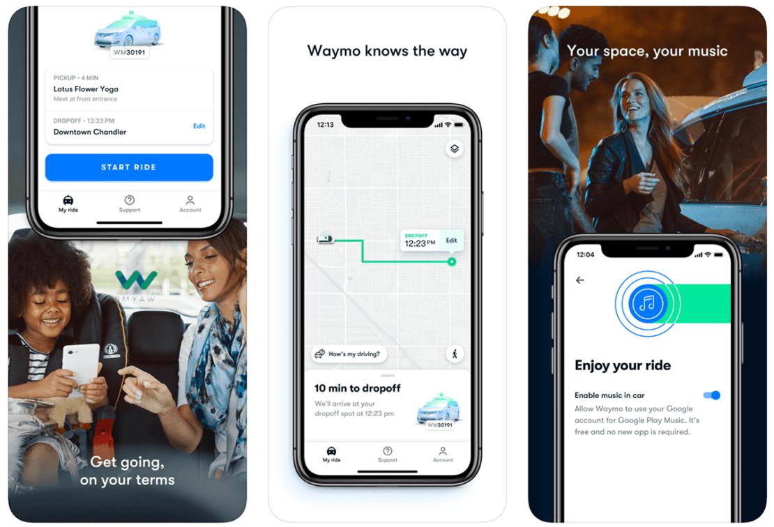 Zrzuty ekranu z aplikacji Waymo