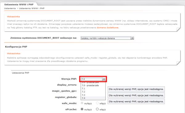 Zmiana wersji PHP w panelu Admin.active na nazwa.pl