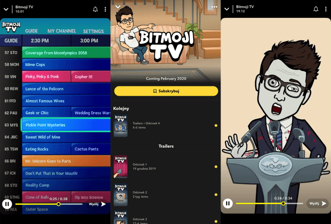 Bitmoji TV (Snapchat screen)