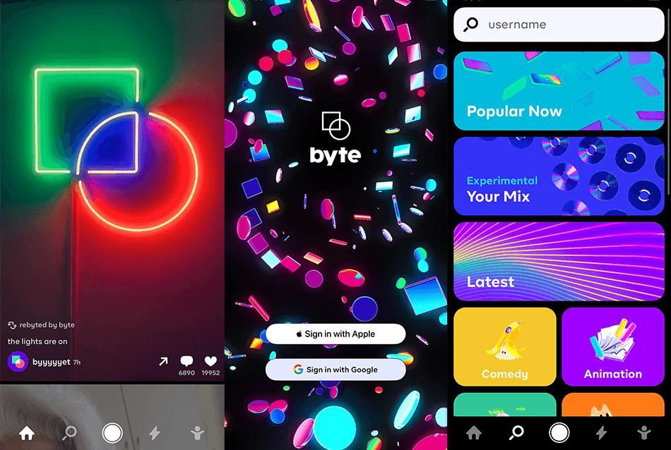 """Zrzuty ekranu z aplikacji """"Byte"""""""