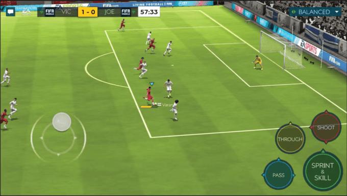 Zrzut ekranu z rozgrywki w grze FIFA Football