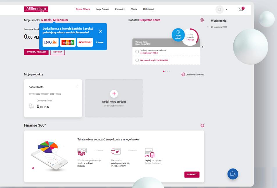 """""""Moje środki"""" bankowość elektroniczna w banku Millennium Finanse 360"""
