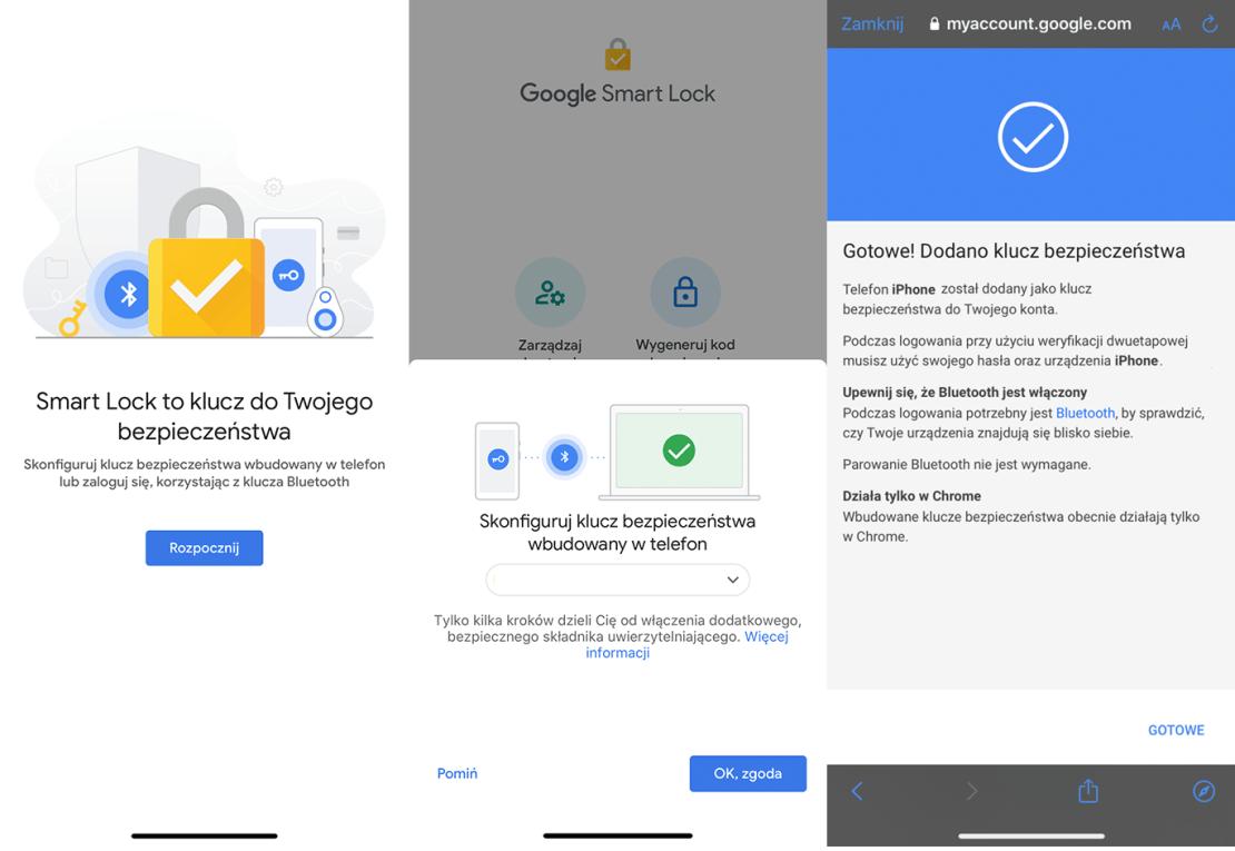 Konfiguracja iPhone'a jako klucz bezpieczeństwa weryfikacji dwuetapowej do konta Google (Smart Lock)