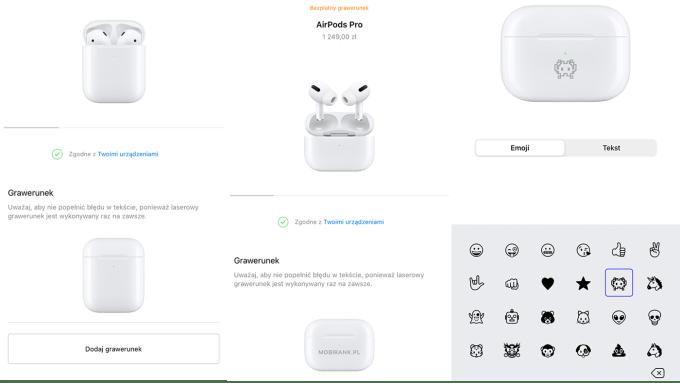 Możliwośc dodania grawerunku z emoji na etui słuchawek AirPods