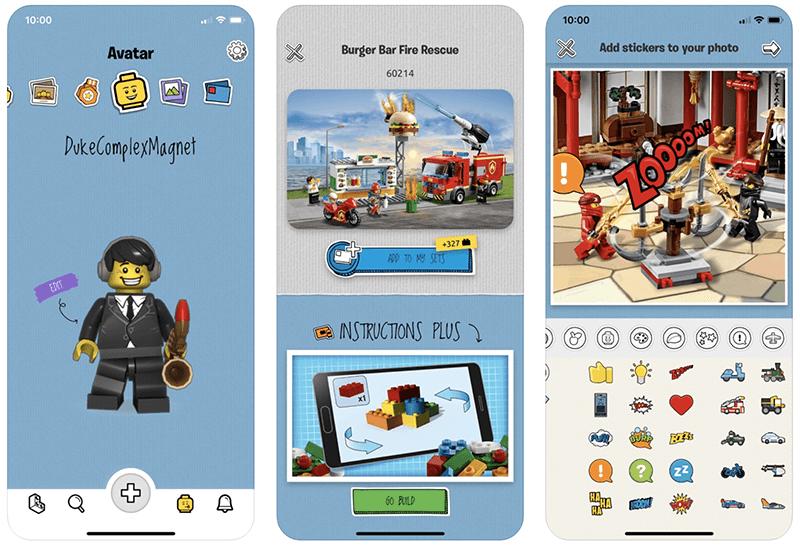Zrzuty ekranu z aplikacji LEGO Life