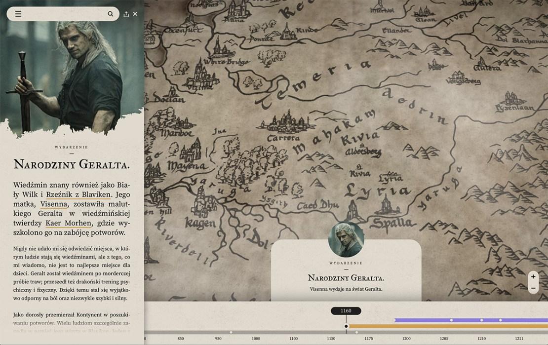 Narodziny Geralta zaznaczone na mapie Kontynentu (wraz z opisem)