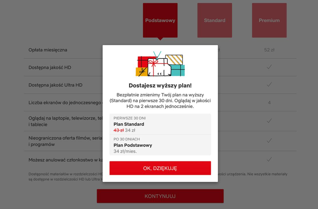 Informacja o ofercie specjalnej na plany Netfliksa w Polsce