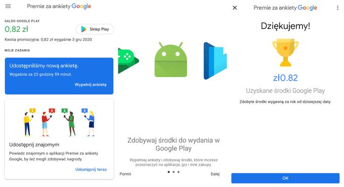 """Zrzuty ekranu z aplikacji """"Premie za ankiety Google"""""""