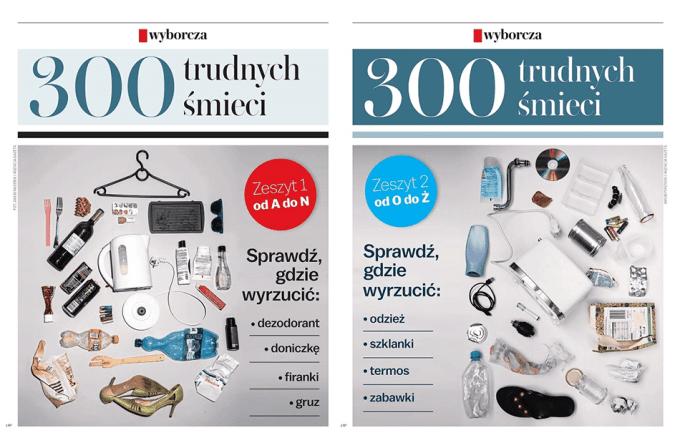 """Okładki dwóch dodatków do Gazety Wyborczej: """"300 trudnych śmieci"""" (19-20 lutego 2020 r.)"""