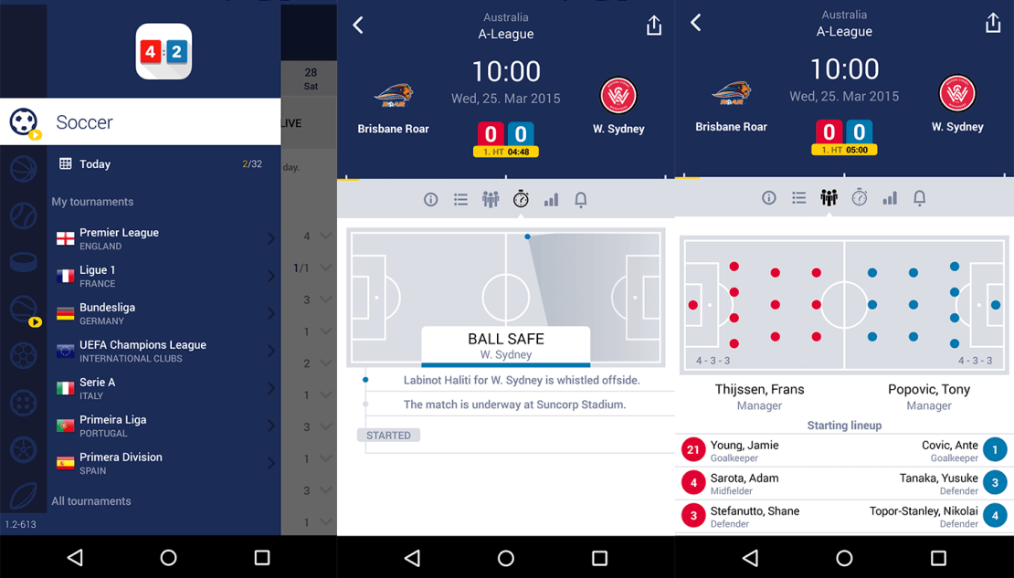 Zrzuty ekranu z aplikacji Mobile Livescore