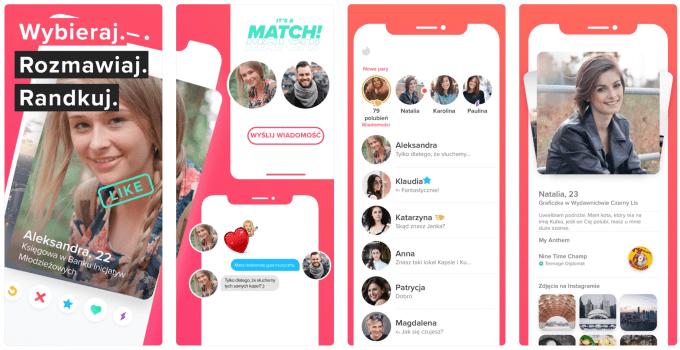 Zrzuty ekranów z aplikacji Tinder
