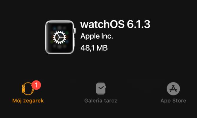 Uaktualnienie watchOS 6.1.3