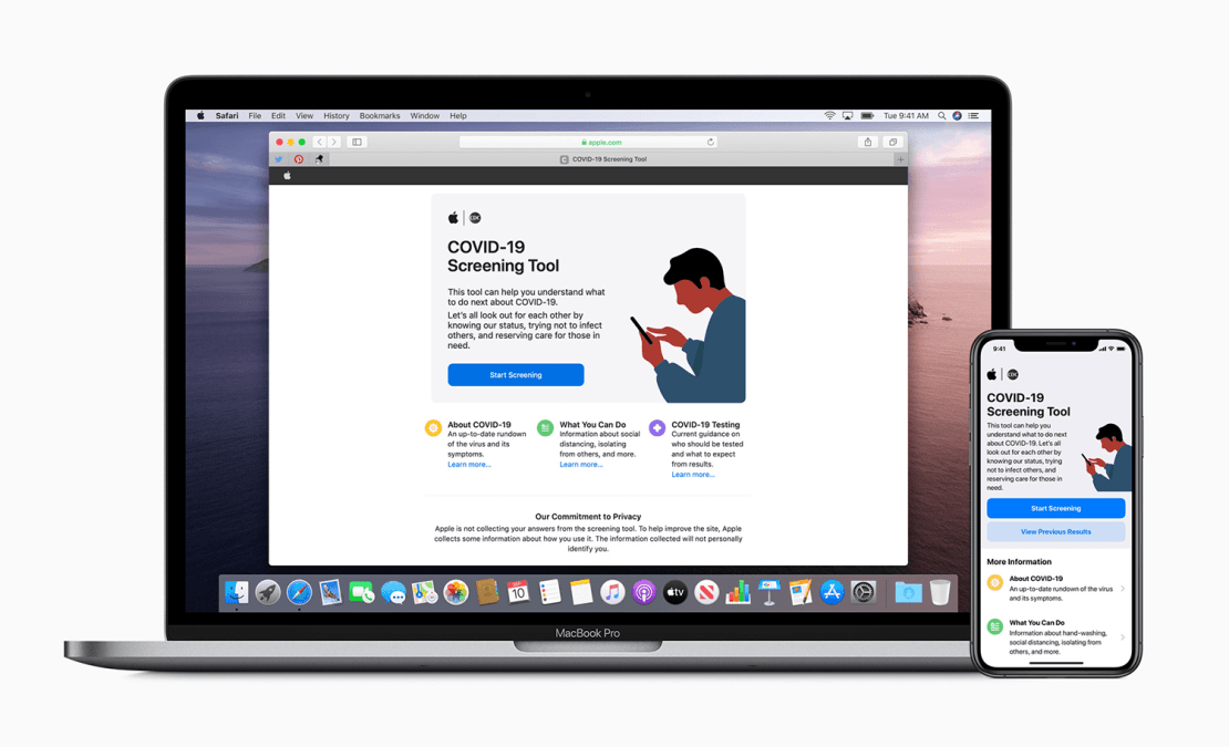 Strona i aplikacja mobilna Apple i CDC na temat koronawirusa