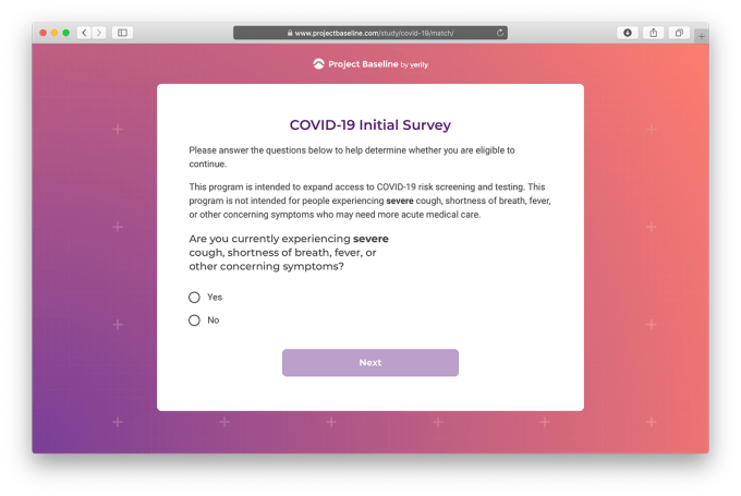 COVID-19 Initial Survey (Verily)