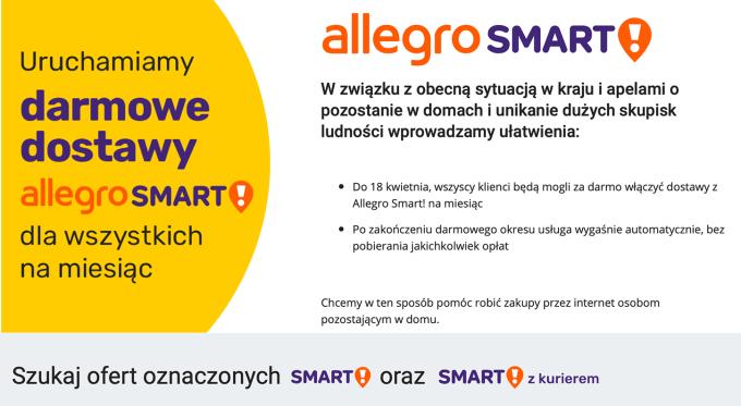 Darmowe dostawy Allegro Smart! dla wszystkich przez miesiąc do 18 kwietnia 2020 r.