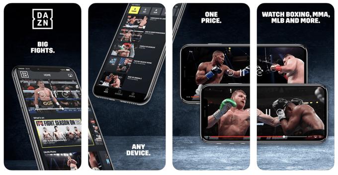 Zrzuty ekranu z aplikacji DAZN