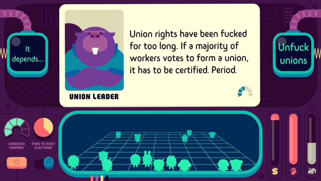 Zrzut ekranu z gry mobilnej Democratic Socialism Simulator