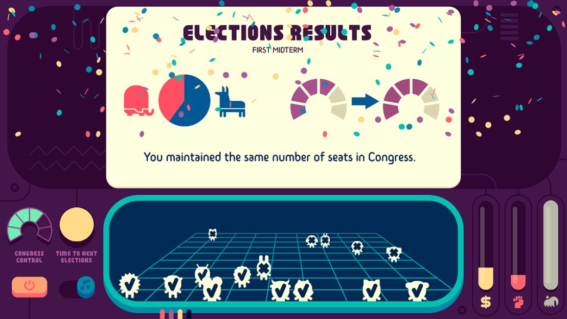 Wyniki wyborów do Kongresu w grze Zrzut ekranu z gry mobilnej Democratic Socialism Simulator