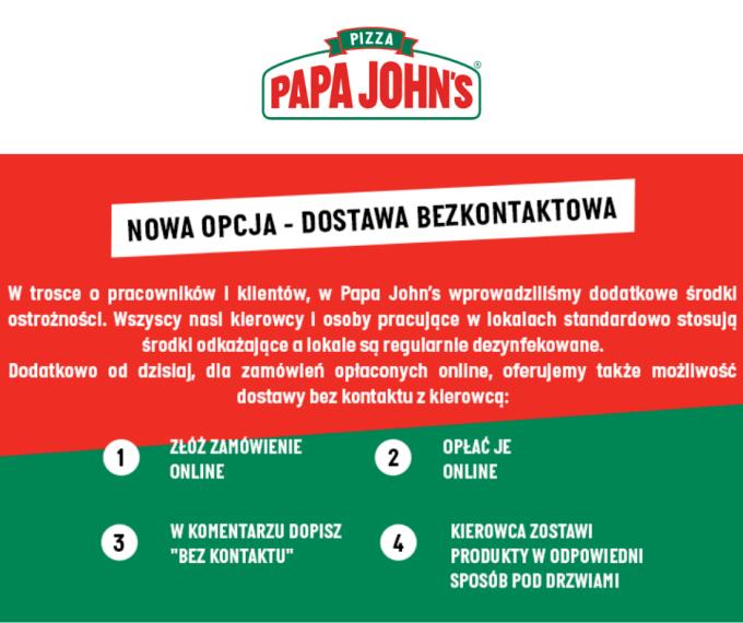 Nowa opcja - dostawa bezkontaktowa w Papa Johns