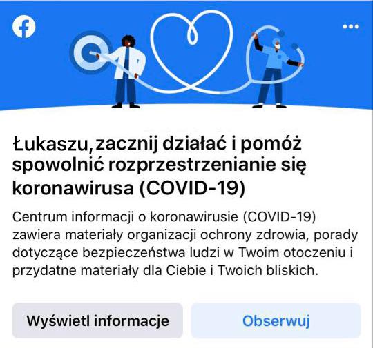 Komunikat o COVID-19 pojawiający się w aplikacji Facebook