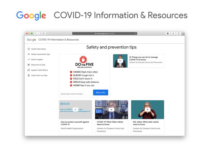 Google COVID‑19 Information & Resources Website