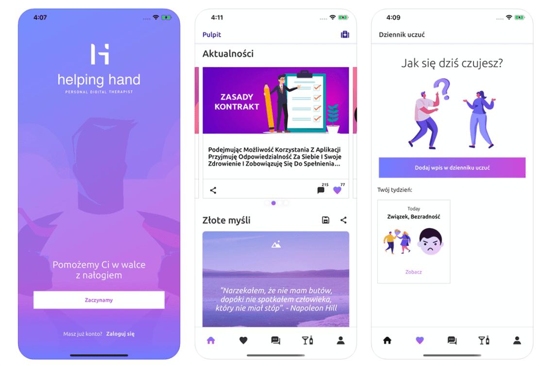 Zrzuty ekranów z aplikacji Helping Hand