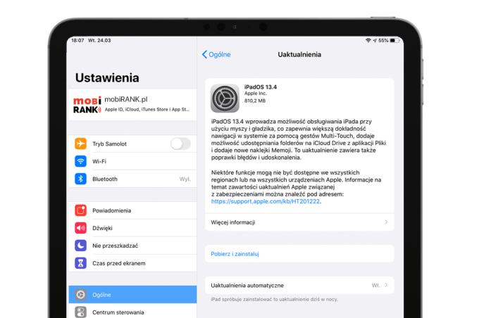 Finalna aktualizacja systemu iPadOS 13.4 (tryb OTA)