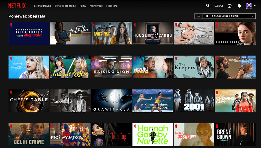 """Kolekcja """"Ponieważ obejrzała"""" (zrzut ekranu z serwisu Netflix)"""