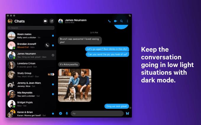 Tryb ciemny Messengera na macOS