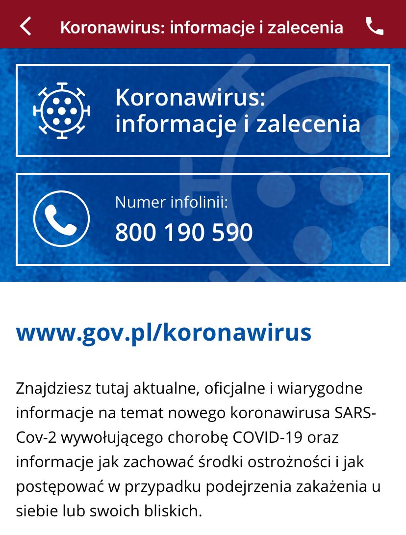 Sekcja o koronawirusie w aplikacji mObywatel