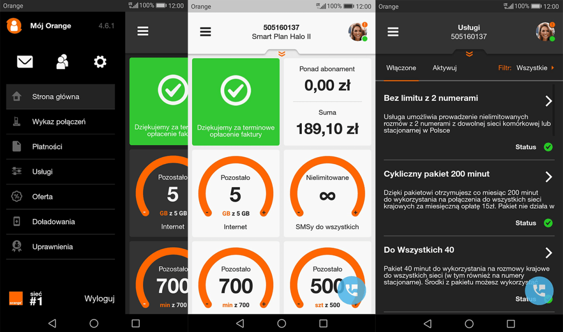 """Zrzuty ekranu z aplikacji """"Mój Orange"""" na Androida"""