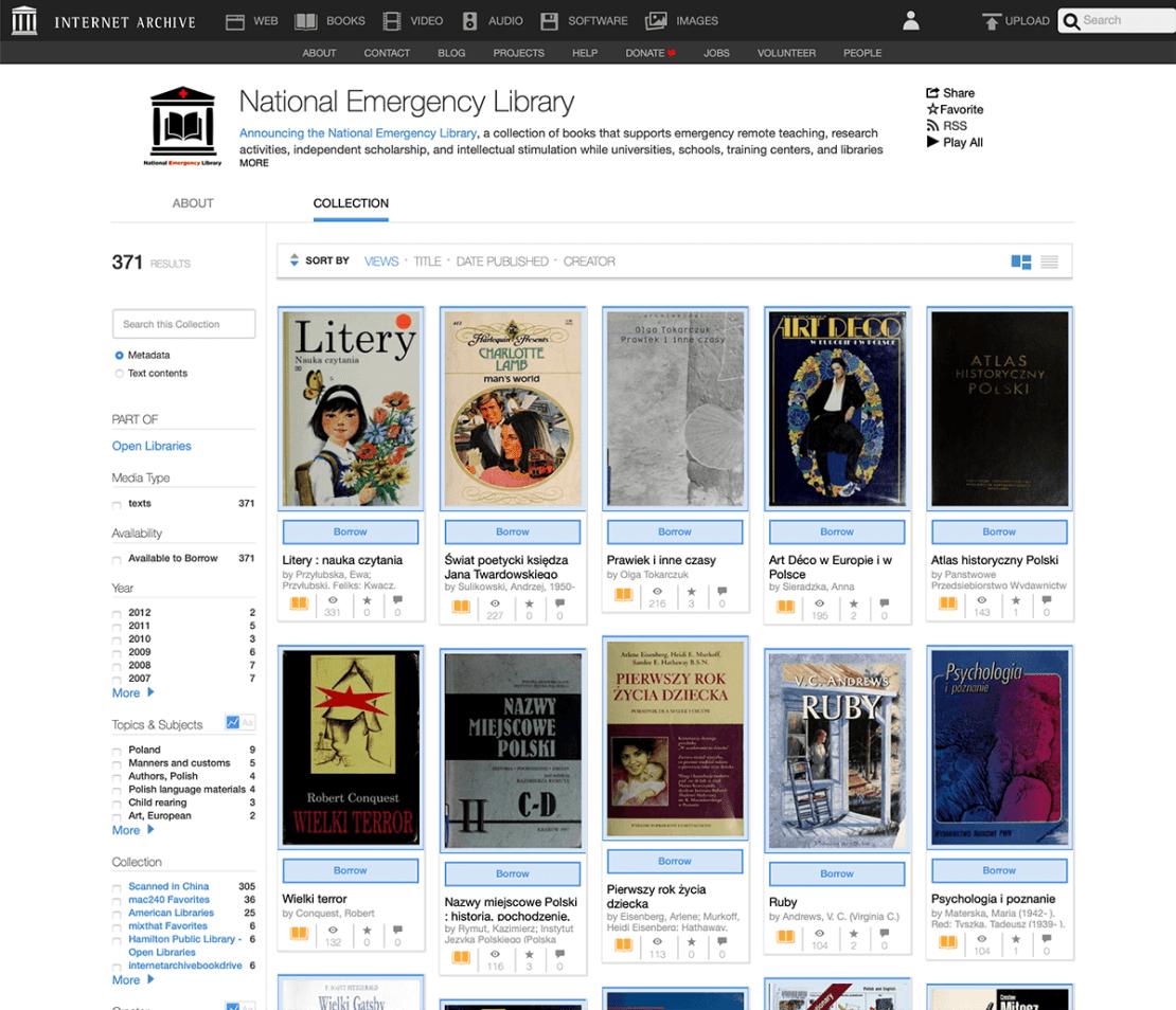 Polska kolekcja w National Emergency Library (Internet Archive)