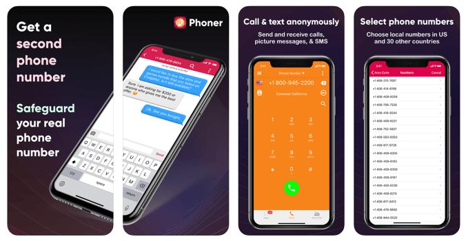 Aplikacja mobilna Phoner 2nd Phone Number + Texting & Calling App