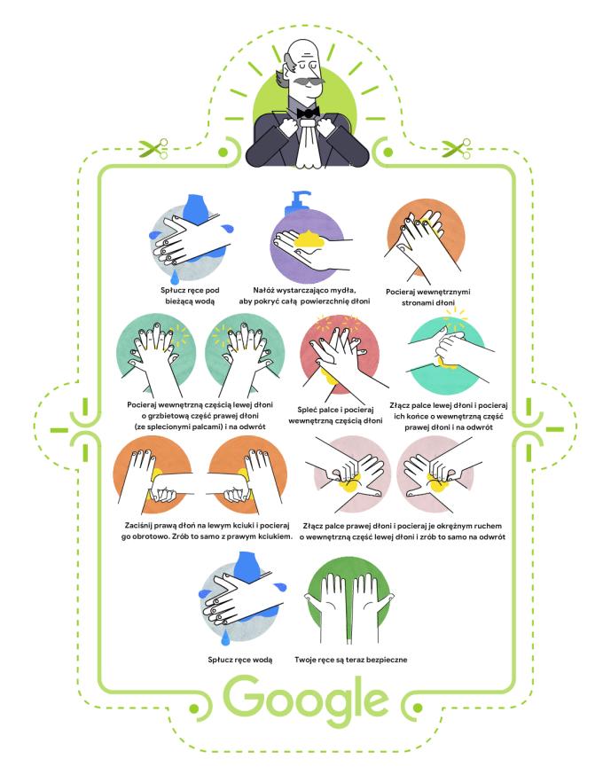 Plakat przypominający o prawidłowym myciu rąk (google Doodle – Semmelweis)