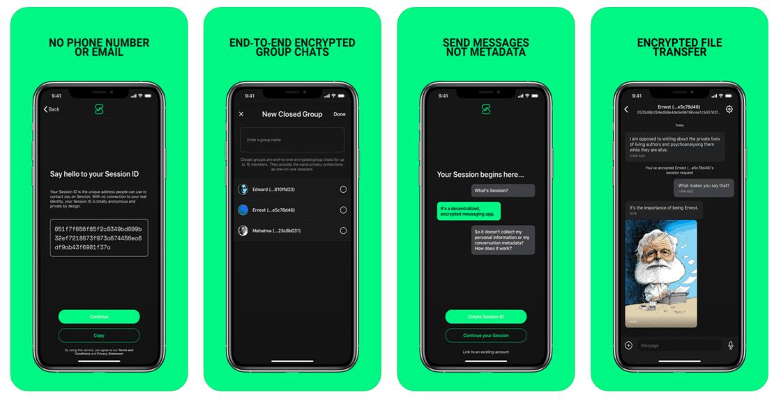 Zrzuty ekranu z aplikacji Session