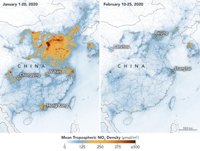Stan dwutlenku azotu w Chinach w styczniu 2020 roku